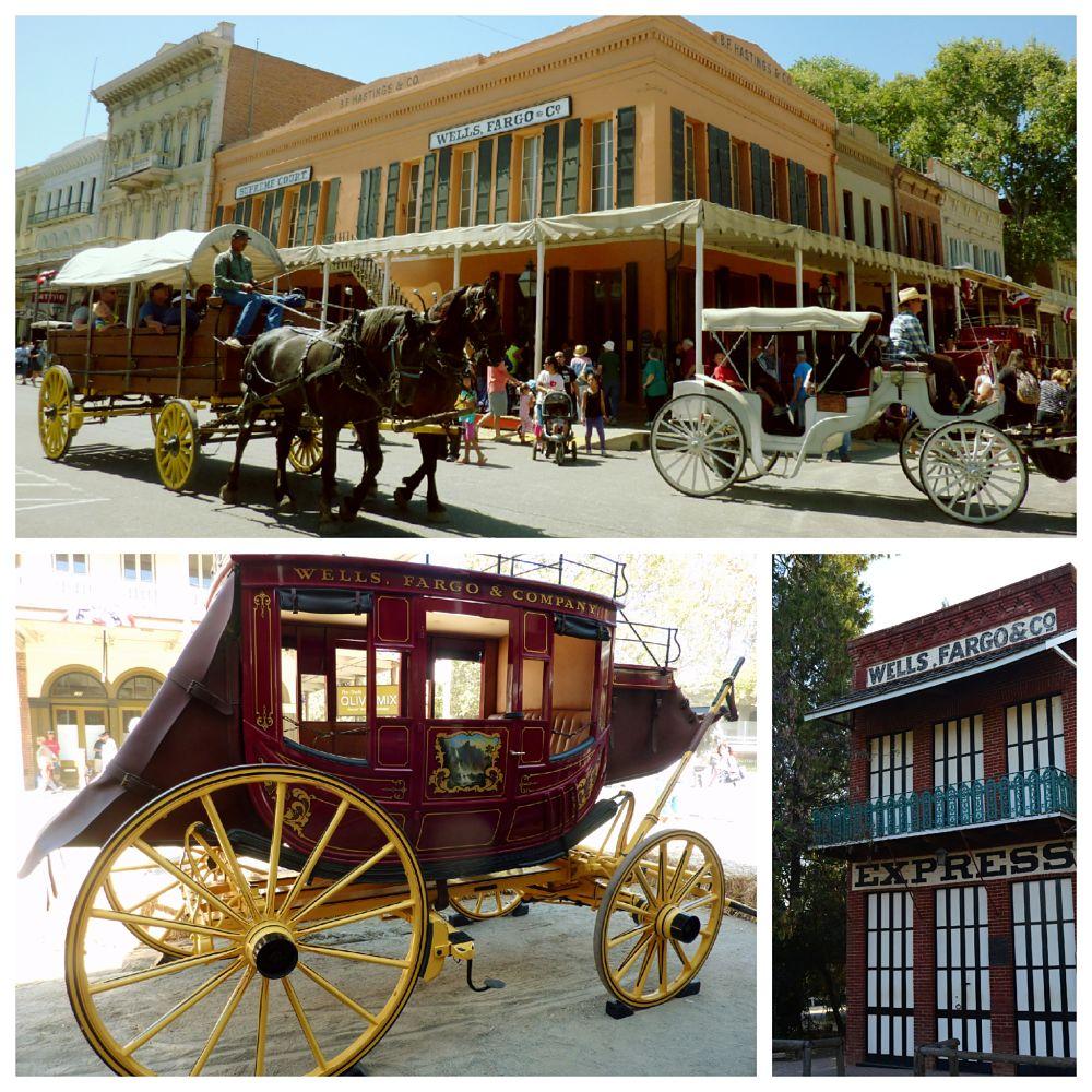 """Edificio Wells Fargo en Old Sacramento durante la festividad """"Gold Rush Days"""" en el fin de semana de Labor Day. Diligencia. Edificio Wells Fargo y Pony Espress en Columbia."""